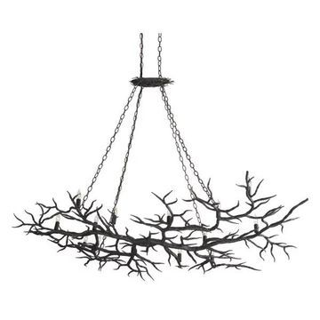 Currey and Company 9007 Rainforest 14 Light Linear Chandelier - Bronze
