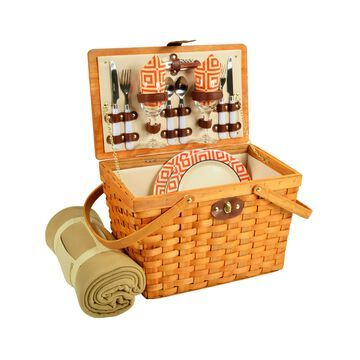 Frisco Traditional American Style Picnic Basket, Blanket for 2