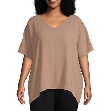 Worthington Womens Short Sleeve V Neck Woven Top - Plus