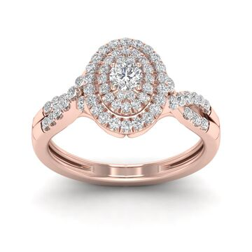 De Couer 1/2ct TDW Diamond Oval Shape Halo Engagement Ring - Pink