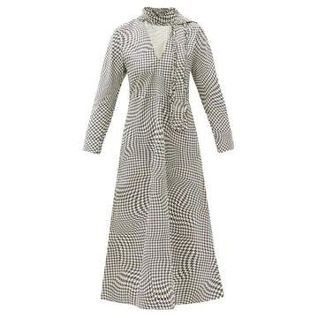 Ganni - Optical Houndstooth Neck-tie Cotton Midi Dress - Womens - Black White