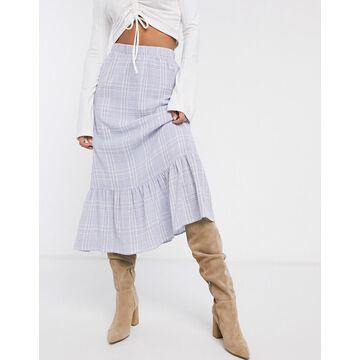Vila midi skirt in blue check-Multi