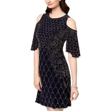 Xscape Womens Cocktail Dress Short Cold Shoulder