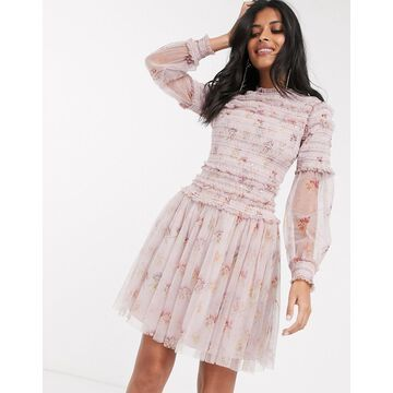 Needle & Thread sequin mini dress with sheer sleeves in dusty mauve-Purple