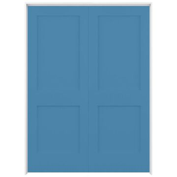 ReliaBilt Shaker 64-in x 80-in Blue Heron 2-Panel Square Solid Core Prefinished Pine MDF Universal Inswing Double Prehung Interior Door