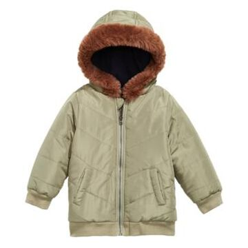 First Impressions Baby Boys Hooded Chevron Jacket With Faux-Fur Trim, Created for Macy's