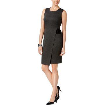 Kasper Womens Semi-Formal Dress Faux Wrap Sleeveless