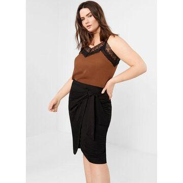 Violeta BY MANGO - Bow midi skirt black - XL - Plus sizes