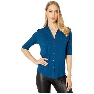 Majestic Filatures Viscose/Elastane Button Front Shirt (Notte) Women's Clothing