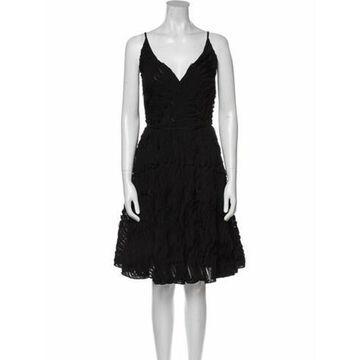 Silk Knee-Length Dress Black