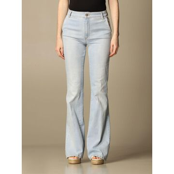 Manila Grace jeans in flared washed denim