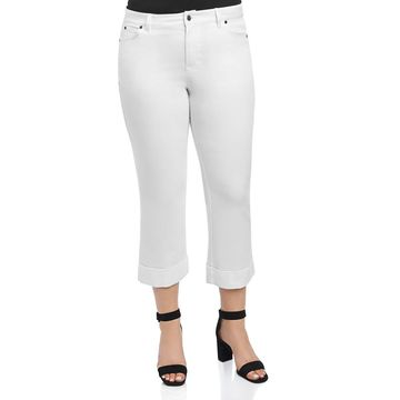 Foxcroft Womens Aurora Denim Cuffed Ankle Pants