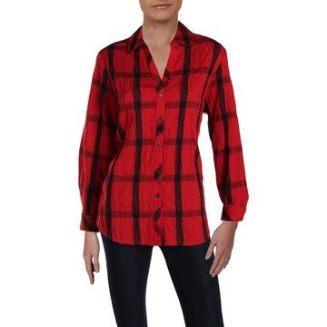 Foxcroft Womens Window Pane Crinkled Button-Down Top