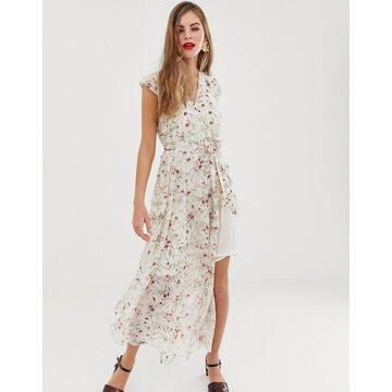 Y.A.S Vigga floral belted maxi dress-Pink