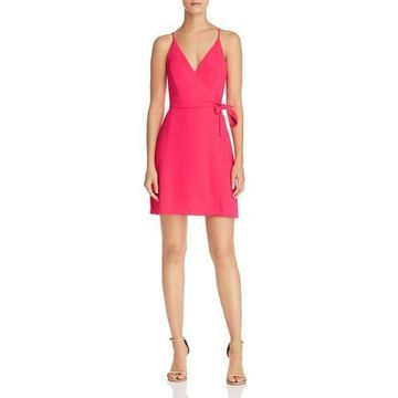 Amanda Uprichard Womens Clarita Mini Side-Tie Wrap Dress