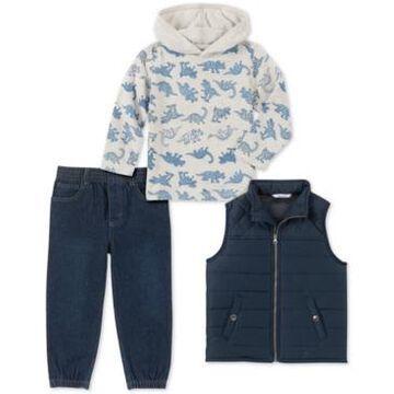 Kids Headquarters Baby Boys 3-Pc. Vest, Dinosaur-Print Hoodie & Denim Jogger Pants Set