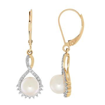 Sofia Sofia 1/5 CT. T.W. Genuine White Cultured Freshwater Pearl 10K Gold Drop Earrings