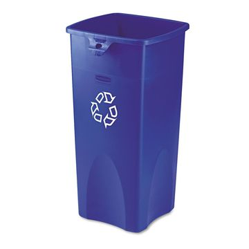 Rubbermaid Commercial Untouchable Recycling Container Square Plastic 23gal Blue