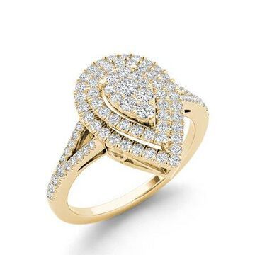 IGI Certified Imperial 1/2Ct TDW Diamond 14k Yellow Gold Pear Shape Cluster Halo Engagement Ring (H-I, I2)