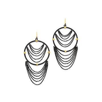 Armenta 18K Yellow Gold & Blackened Sterling Silver Old World Champagne Diamond Earrings