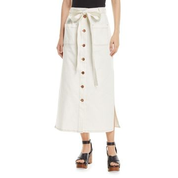 Button-Front Midi Skirt with Pockets