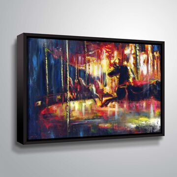 ArtWall's I Like a Horse on a Carousel Gallery Wrapped Floater-framed Canvas