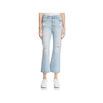 DL1961 Womens Wallace Flare Jeans Light Wash Distressed