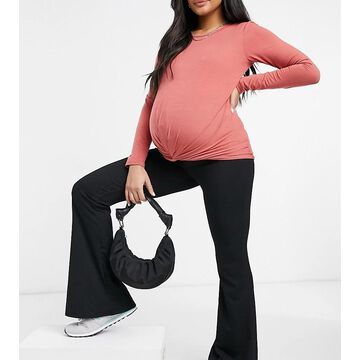 Mamalicious Maternity long sleeve t-shirt with knot front in dark rose-Pink