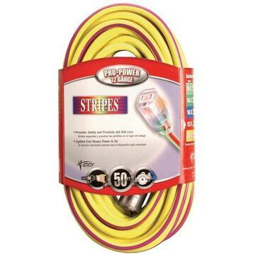 Coleman Cable 2549SW0022 100' Yellow & Purple 12/3 Outdoor Extension Cord
