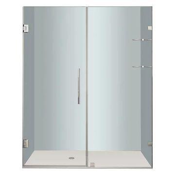 Aston Nautis Frameless Hinged Shower Door, Shelves, Stainless Steel, 6