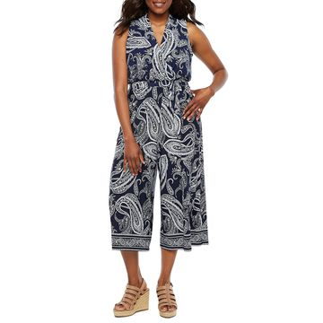 Studio 1 Sleeveless Paisley Jumpsuit-Petite