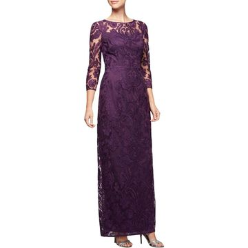 Alex Evenings Womens 3/4 Sleeves Full-Length Evening Dress