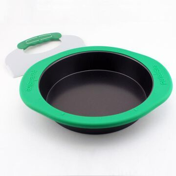 BergHOFF Perfect Slice 2pc 9-in Round Cake Pan with Silicone Sleeve and Tool in Green