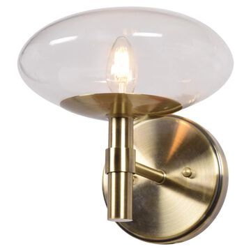 Access Lighting Grand 9.25-in W 1-Light Brushed Brass Modern/Contemporary Wall Sconce | 52091LEDDLP-BB/CLR