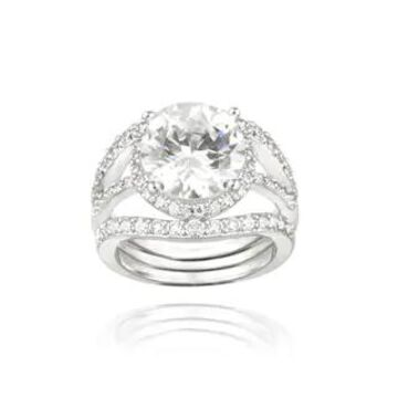 Icz Stonez Sterling Silver Cubic Zirconia Ring Set (6 3/5ct TGW)