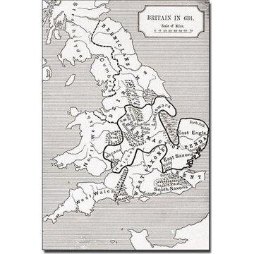 Trademark Art 'Map of Britain in 634' Canvas Art