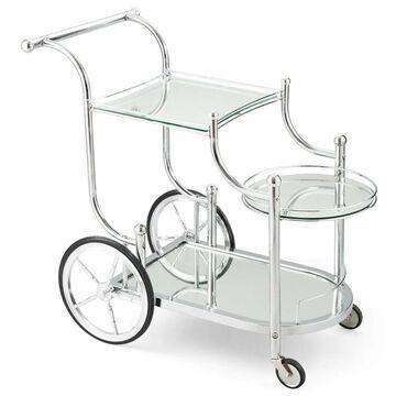 Goplus Serving Cart Kitchen Bar Wine Tea Cart Glass Shelves and Metal Frame with Wheels | GYM03340