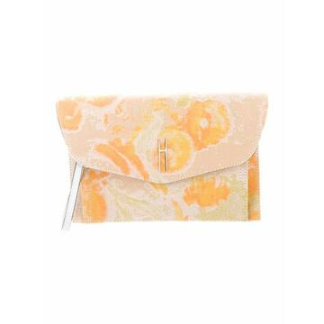 Floral Canvas Clutch Yellow