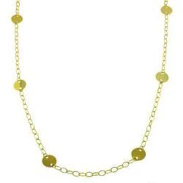 Fremada 14k Yellow Gold 36-inch Disk Station Necklace
