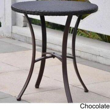 International Caravan Barcelona Resin Wicker/Aluminum 28-inch Round Outdoor Bistro/Side Table (Chocolate)