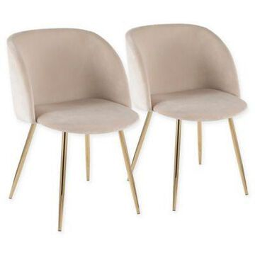 Lumisource Velvet Upholstered Luna Dining Chairs in Cream (Set of 2)