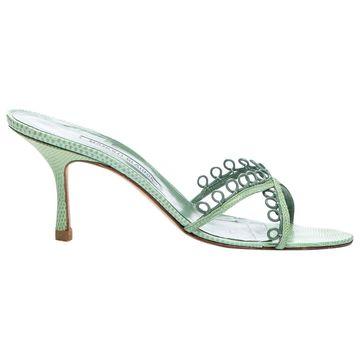 Manolo Blahnik Green Leather Heels