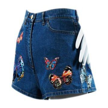 Valentino Blue Cotton Shorts