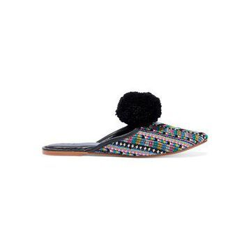 Figue Isa Pompom-embellished Embroidered Leather Slippers