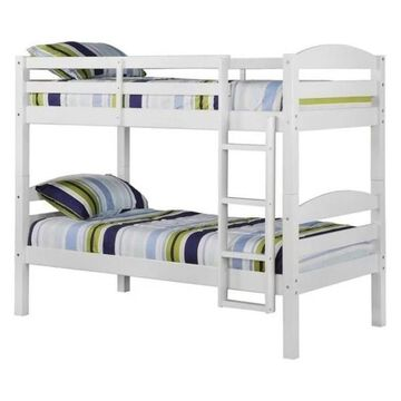 Pemberly Row Twin over Twin Solid Wood Bunk Bed in White