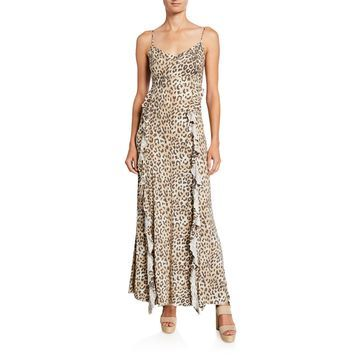 Heirloom Lace-Up Back Ruffle Maxi Dress