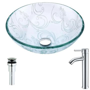 ANZZI Vieno Series Clear Floral Tempered Glass Vessel Round Bathroom Sink with Faucet (Drain Included) (16.5-in x 16.5-in) | LSAZ065-041