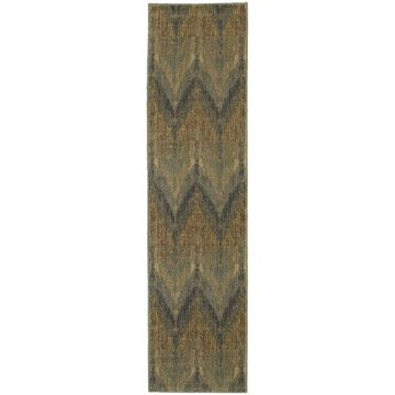 Style Haven Chevron Ikat Blue/Beige Indoor/Outdoor Area Rug (1'10 x 7'6) - 1'10