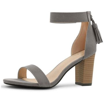 Unique Bargains Women's Open Toe Tassel Stacked Heel Ankle Strap Sandals Dark Gray (Size 11)