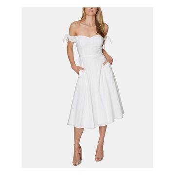 AVEC LES FILLES Ivory Sleeveless Below The Knee Dress 6